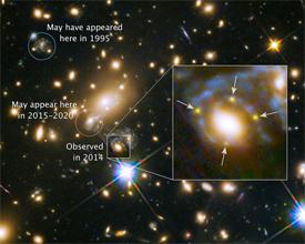 The super nova shown four times