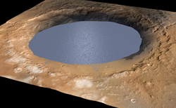 Reconsturcted image of the Gale Crater as a lake