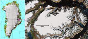 Renland vist på grønlandskort