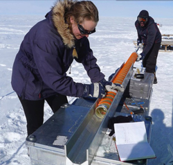 Researches making measurements of the ice