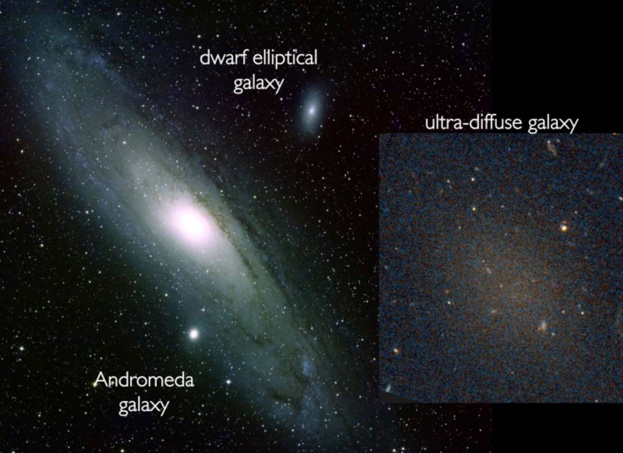 The ultra-diffuse faint galaxy, Dragonfly 17 shown next to two other galaxies for comparison. The large spiral galaxy, the Andromeda galaxy is shown on the left and the elliptical dwarf galaxy, NGC 205 is shown higher up in the image, while the diffuse ultra-faint dwarf galaxy, Dragonfly 17 can be seen to the right. (Credit: Schoening/Harvey/van Dokkum/Hubble Space Telescope).