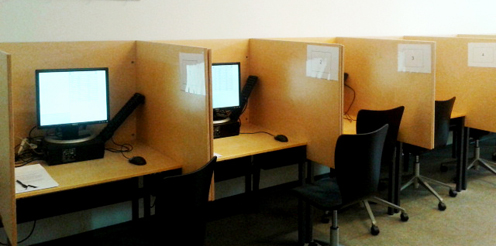 Computer screens in cubicles