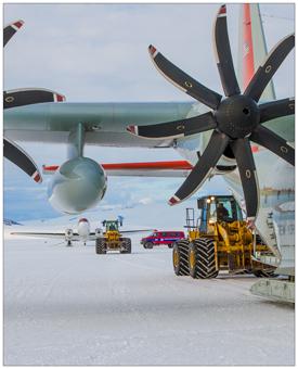 Airplane on the polar ice