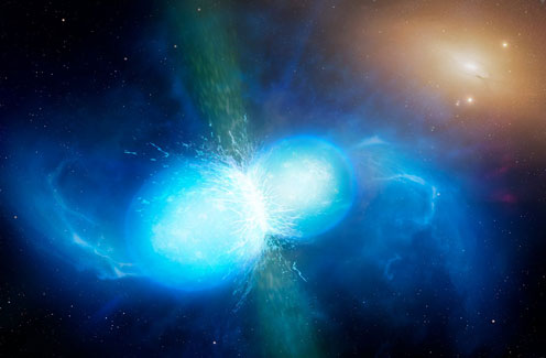 Artistic creation of clashes between two neutron stars