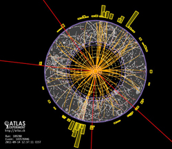 Visualisation of the data from a collision in the LHC