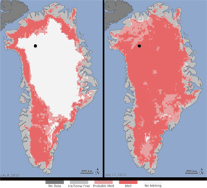 Map displaying the melting of the North Pole