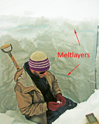 Paul Vellelonga in a hole with the melted layers