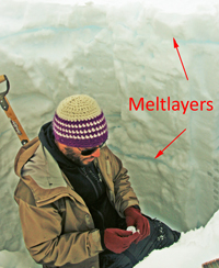 Meltlayers of the ice
