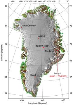 Grønland med markering af Lake Catalina
