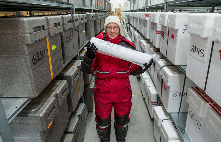 Iben with an ice core ind the new ice core freezer