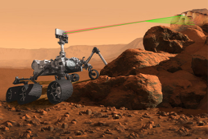 Artist's rendering of the SuperCam instrument at work on a rover on Mars.