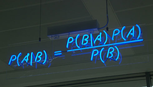 Equation that states Bayes' theorem