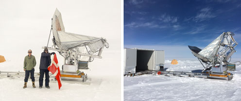 View of the telescope at the facility in Greenland
