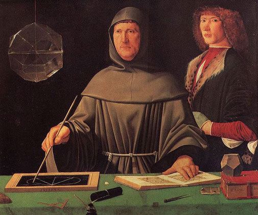 Luca Pacioli with a student