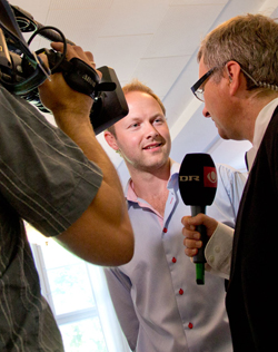 Troels Petersen getting interviewed by DR